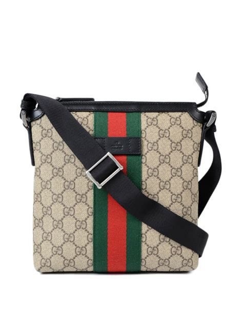 Gucci - GG Supreme Web messenger bag - shoulder bags