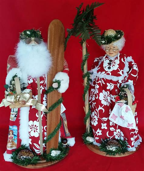 Hawaiian Dolls - Red Hibiscus Santa Claus & Tutu Set - Set